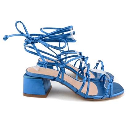 Sandalia de Amarrar Salto Bloco Azul