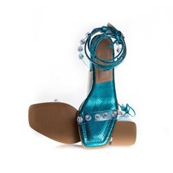 Sandalia Elza Salto Bloco com Vinil e Pedraria de Amarrar Azul