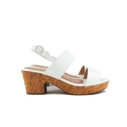 Sandalia Feminina Com Salto Baixo Grosso Confortável Oferta Branco
