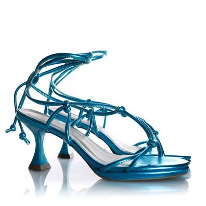 Sandalia Feminina de Amarrar Salto Baixo Taça Azul Claro