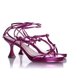 Sandalia Feminina de Amarrar Salto Baixo Taça Pink