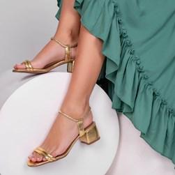 Sandalia Feminina Jasmin Metalizada com Salto Bloco Ouro