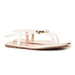Sandalia Feminina Rasteira Com Pedra Super Fashion  Branco