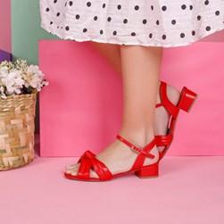 Sandalia Feminina Salto Baixo Quadrado com Nó Vermelho