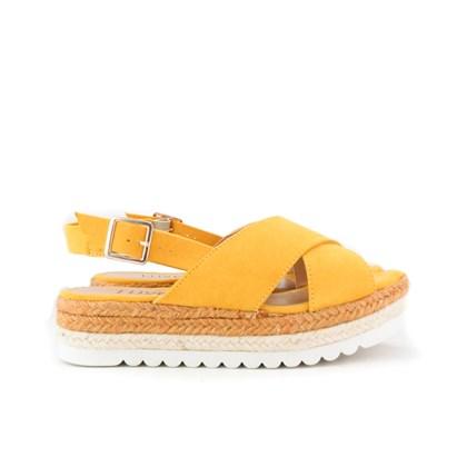 Sandalia Flatform Corda Sola Alta Feminina Lançamento Amarelo