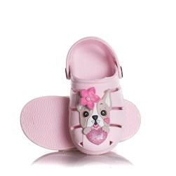 Sandália Infantil Feminina Babuche Cachorrinho Com Laço Moda Menina Rosa
