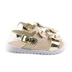 Sandalia Infantil Feminina Bebe C/ Laço Moda Menina Ouro