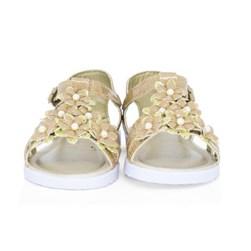 Sandalia Infantil Feminina Com Florzinhas Moda Menina Oferta Dourado