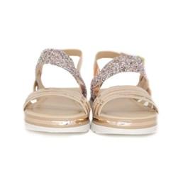 Sandália Infantil Feminina Com Glitter Avarca Tratorada Moda Menina Cobre