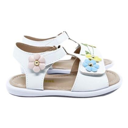 Sandália Infantil Feminina Com Velcro Moda Menina Promoção Branco