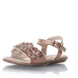Sandalia Infantil Feminina Moda Menina Com Perolas Bronze