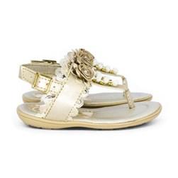 Sandalia Infantil Feminina Moda Menina Com Perolas Dourado