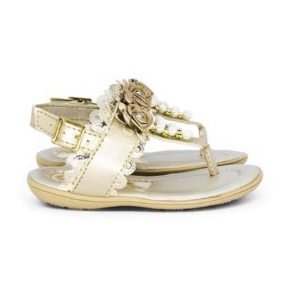 Sandalia Infantil Feminina Moda Menina Com Perolas Promoção Dourado