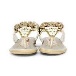 Sandalia Infantil Feminina Moda Menina Com Perolas Promoção Marfim