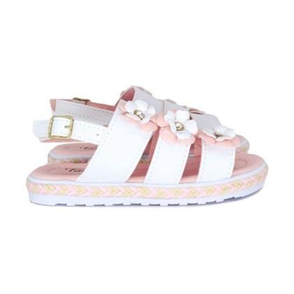 Sandalia Infantil Feminina Moda Menina Lançamento Branco/Rosa