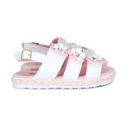 Sandalia Infantil Feminina Moda Menina Lançamento Promoção Branco/Rosa