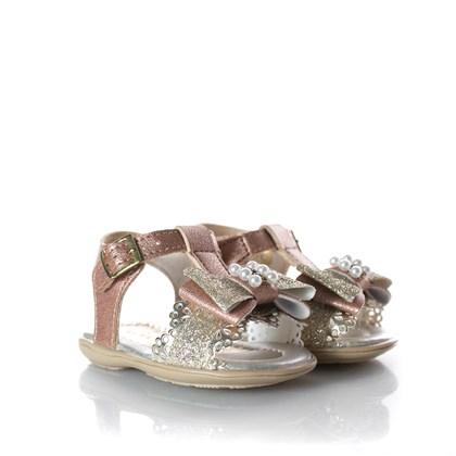 Sandália Infantil Laço Perola Glitter Bronze