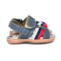 Sandália Infantil Masculina Papete Menino Com Velcro Oferta Cinza