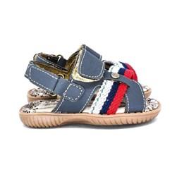 Sandália Infantil Masculina Papete Menino Com Velcro Oferta Marinho