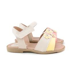 Sandalia Infantil Menina Com Velcro Confortável Promoção Marfim