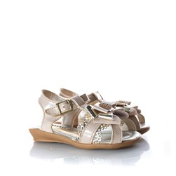 Sandália Infantil Menina Glitter Laço Metalizado Marfim