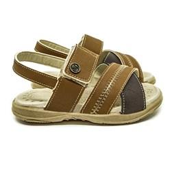 Sandália Infantil Papete Menino Kids Confort Com Velcro Castanho