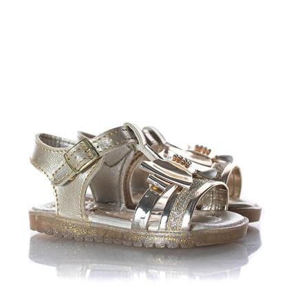 Sandalia Laço Metalizado Ouro