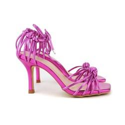 Sandalia Metalizada Nó Bico Quadrado Pink