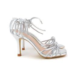 Sandalia Metalizada Nó Bico Quadrado Prata