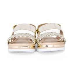 Sandalia Metalizada Trançada Ouro