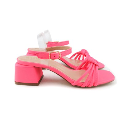 Sandalia Nó Salto Bloco Pink
