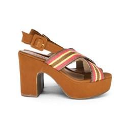 Sandalia Plataforma Feminina Salto Grosso Alta Confort Caramelo