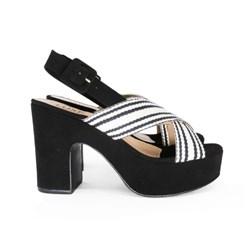 Sandalia Plataforma Feminina Salto Grosso Alta Confort Preto