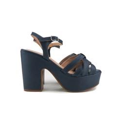 Sandalia Plataforma Feminina Salto Grosso Super Fashion  Marinho