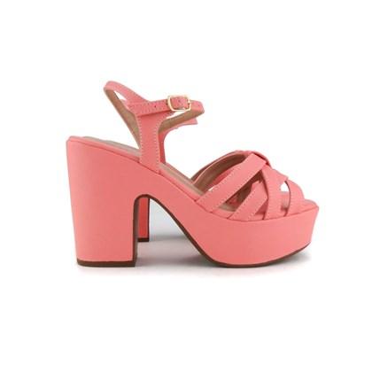 Sandalia Plataforma Feminina Salto Grosso Super Fashion  Salmao