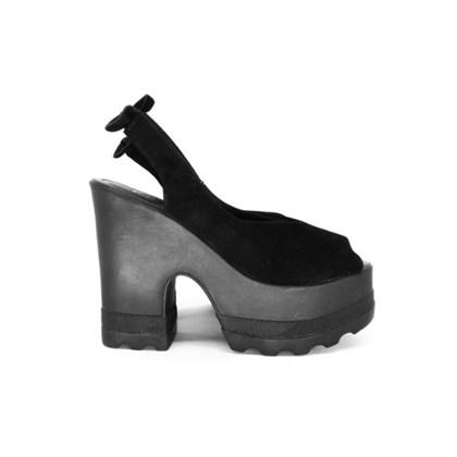Sandália Plataforma Tratorada com Laço Atrás Preto