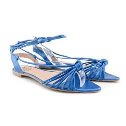Sandalia Rasteira Bico Folha De Amarrar Azul