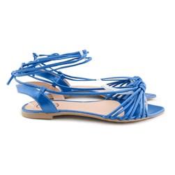 Sandalia Rasteira Bico Folha De Amarrar Oferta Imperdível  Azul