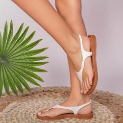 Sandália Rasteira Inês Texturizada Calce Fácil Branco