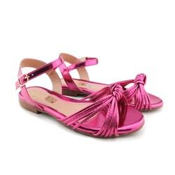 Sandalia Rasteira Metalizada Nó Pink