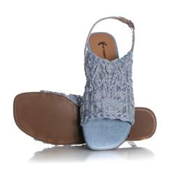 Sandália Rasteira Priscila em Renda Azul Claro
