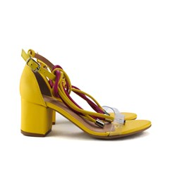 Sandalia Salto Baixo Quadrado Amarelo