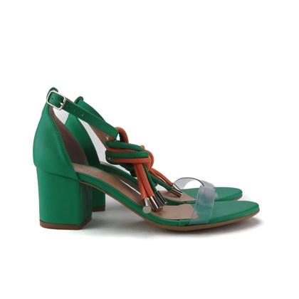 Sandalia Salto Baixo Quadrado Verde