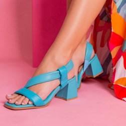 Sandália Salto Bloco Analiz Comfy Soft Azul Claro