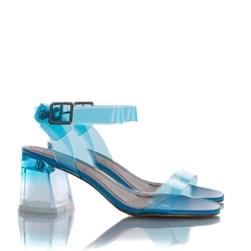 Sandalia Salto Bloco Eva Cristal Degradê Azul Claro