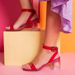 Sandalia Salto Bloco Eva Cristal Degradê Pink