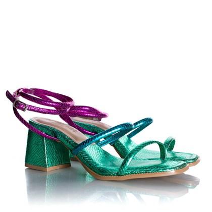 Sandália Salto Bloco Luci Metalizada com Tiras Verde