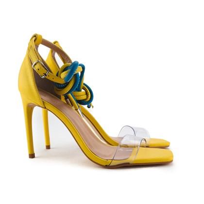 Sandalia Salto Fino Amarelo