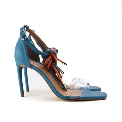 Sandalia Salto Fino Azul