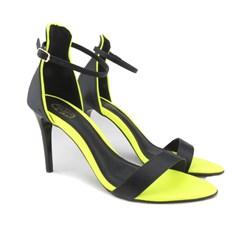 Sandália Salto Fino com Solado Neon Preto/Lima Neon